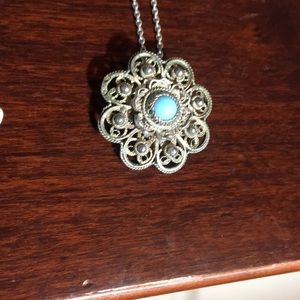 Jewelry - Vintage 925 sterling silver Turquo brooch necklace